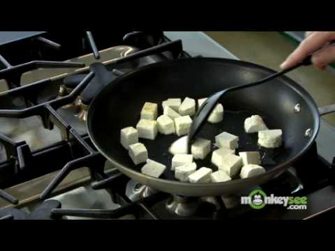 Cutting and Pan Frying the Paneer Cheese