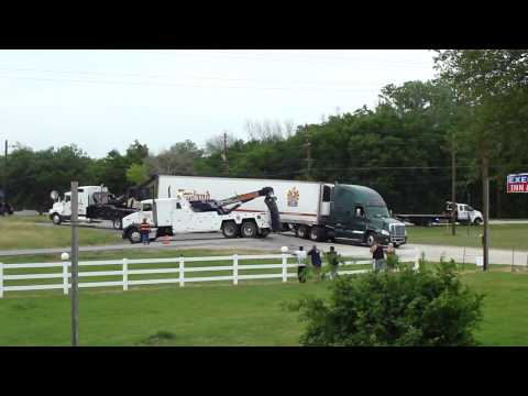 C R England Truck Stuck; Tow Trucks Trying to Pull it out Part 1 of 2