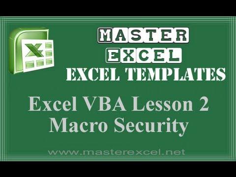 Excel VBA Lesson 2 Macro Security