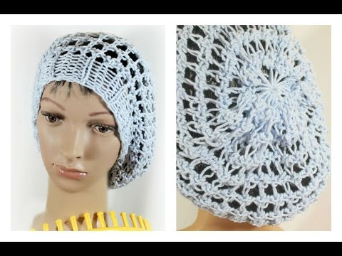 Three Step Stitch Slouchy Beanie Snood Hat on Round Loom (Circular)