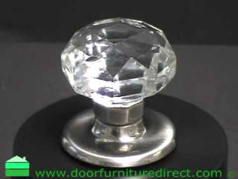 Clear Glass Faceted Mortice Door Knobs SCP Rose