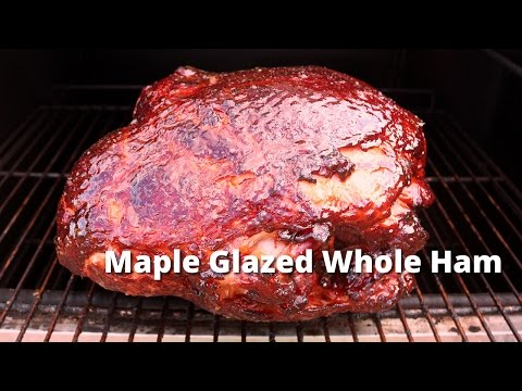 Maple Glazed Whole Ham | Smoked Ham with a Maple Glaze on Ole Hickory Pit