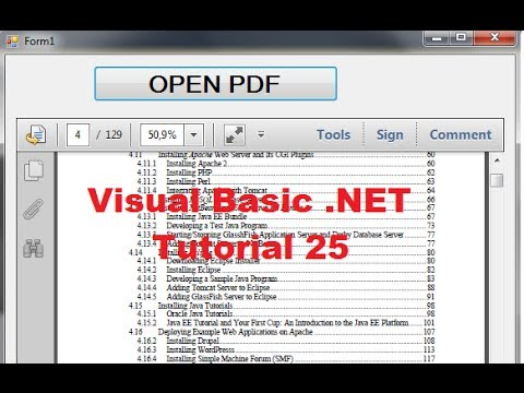 Visual Basic .NET Tutorial 25 - How to open and show a PDF file inside VB.NET Form