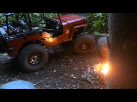 rc scale crawler backyard campground with campfire - 1/6 figures