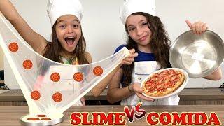 SLIME VS COMIDA DE VERDADE!!! Misturamos Todo o Nosso Slime no Final!! SLIME VS REAL FOOD!!!