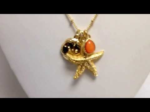 Coral Gold Starfish Necklace