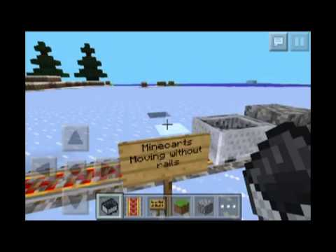 Minecraft Pe Tutorial How To Make Minecarts Move Without Rails