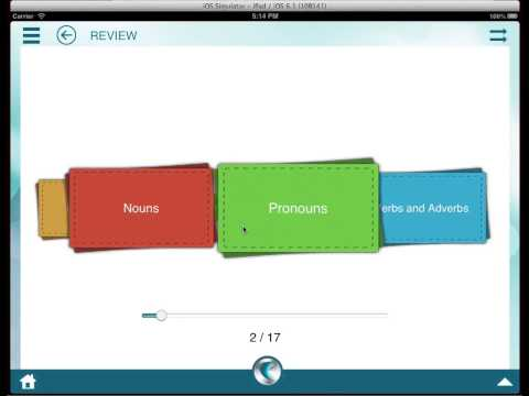Demo of Learn English Grammar, Writing, Spelling and Vocabulary on iPad