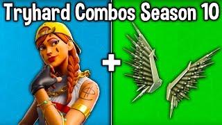 10 TRYHARD SKIN + BACKBLING COMBOS in SEASON X! (Fortnite Tryhard Combinations Season 10)