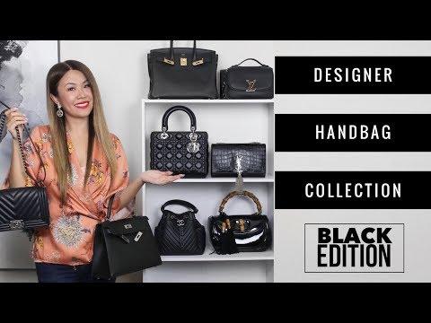 ENTIRE DESIGNER BAG COLLECTION - BLACK ED 🖤 + MOD SHOTS   Chanel, LV, Hermes, Gucci, Dior, YSL