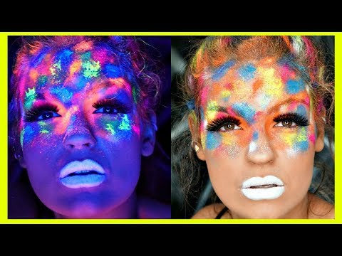 UV BLACK LIGHT Makeup Paint Splatter Tutorial