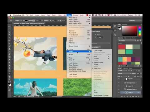Photoshop CC 2015 Web Design Tutorial - How to Used Measuring & Spacing Tools Part 10/48