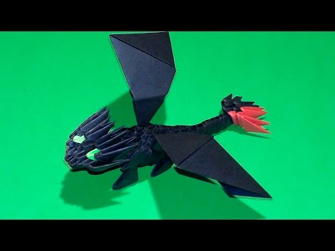 3D origami a small Night Fury (Toothless) tutorial for beginners