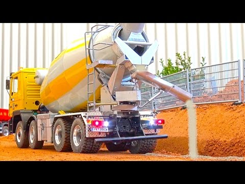 REAL RC CONCRETE Mixer! Liebherr! Rc Truck Action! Rc Wheel Loader! CAT! Construction-World!