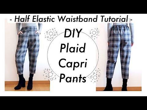 DIY Plaid Capri Pants / Half Elastic Waistband Tutorial / Costura / Sewing Tutorialㅣmadebyaya