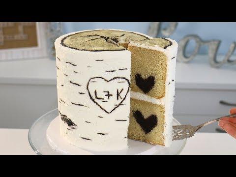 Birch Bark CAKE with HIDDEN Chocolate Heart INSIDE!! ❤