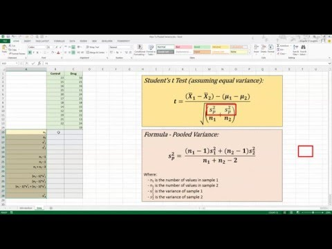 How To... Calculate Pooled Variance in Excel 2013