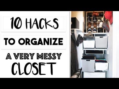 ORGANIZING | 10 HACKS TO ORGANIZING A VERY MESSY CLOSET | MY HUSBANDS SCARY CLOSET