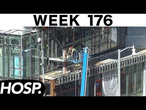 Construction time-lapse: Week 176 (Hospital edition): Installing main lobby glass in a tight space