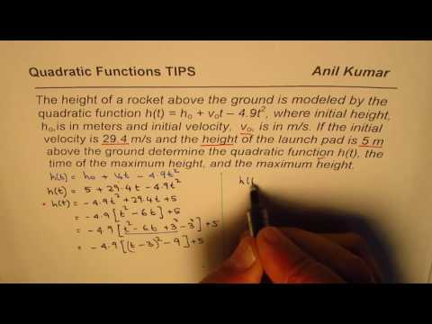 Find Equation and Maximum Height of Rocket given initial velocity and height