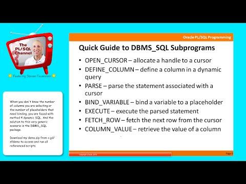 DYN6: Method 4 dynamic SQL with DBMS_SQL (PL/SQL Channel)