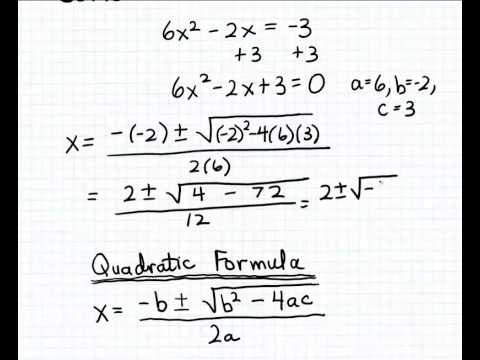 Solving a quadratic equation with complex solutions
