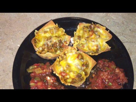 Easy Wonton Taco Cups Recipe