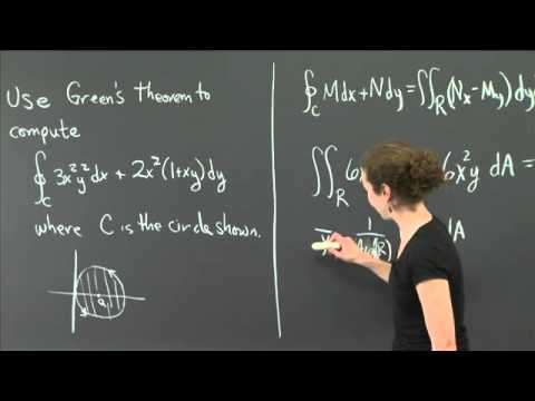 Green's Theorem: an off center circle | MIT 18.02SC Multivariable Calculus, Fall 2010