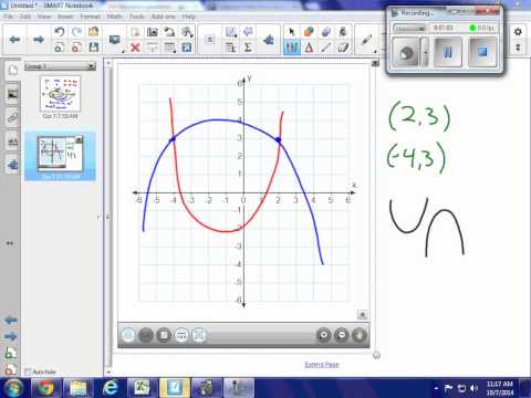 HA2T quadratic, find axis of symmetry given two points same y value