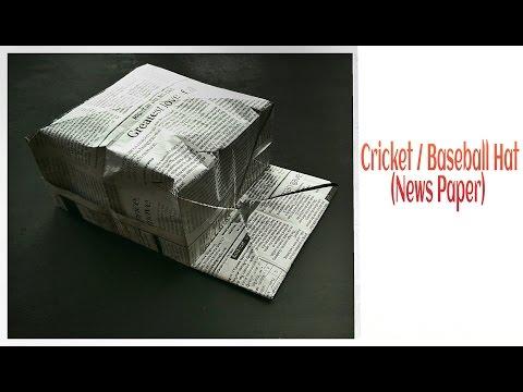 Origami Cricket / Baseball Hat - Newspaper !!