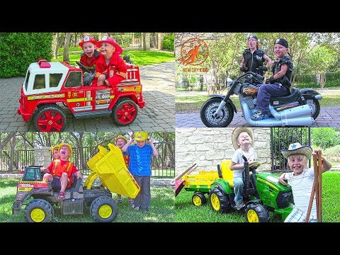Power Wheels Compilation Video from New Sky Kids - Fire Engines, Police Car, Tonka Dump Truck & More
