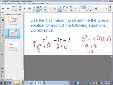 Saxon Algebra 2 - Lesson 93 - The Discriminant