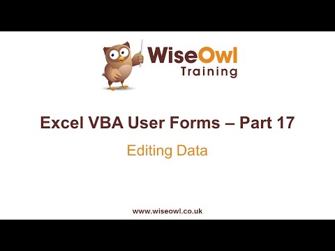 Excel VBA Forms Part 17 - Editing Data