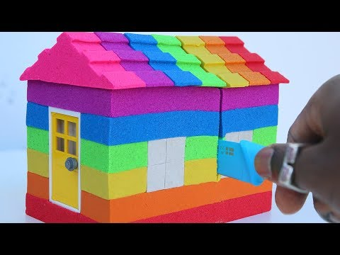 How To make Super Rainbow House Kinetic Sand Colors For Children To Learn DIY