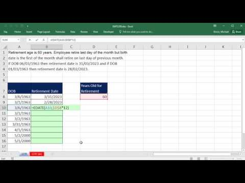 Excel Magic Trick 1270: Calculate Retirement Date with EDATE and EOMONTH functions