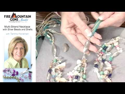 Make a Multi-Strand Necklace with Silver Beads and Shells