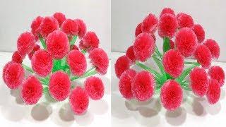 Easy Beautiful Plastic Carry Bags Flower Vase, Empty Plastic Bottle Vase Making Craft, Water Bottle