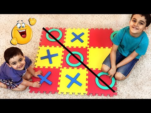 Play with squishy TIC TAC TOE floor mat puzzle. Tic Tac Toe Challenge. Let's Play Kids.