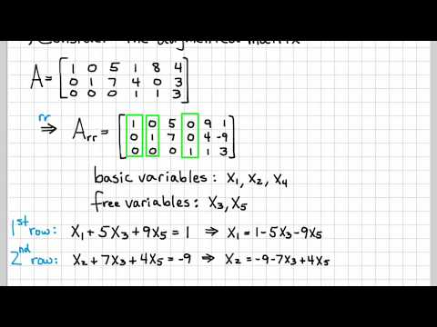 Linear Algebra Example Problems - General Solution of Augmented Matrix