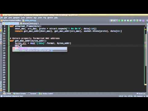 Python Network Packet Sniffer Tutorial - 2 - Formatting MAC Address