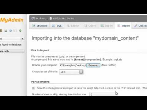 Importing MySQL databases and tables using phpMyAdmin
