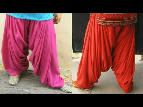 Patiala salwars cutting and stitching with drafting step by step video