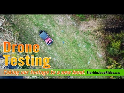 Testing the new drone just south of Disney. Jeep Wrangler