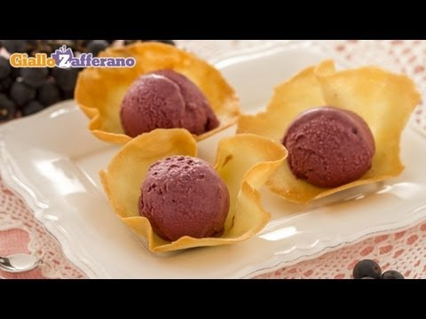 Concord grape ice cream in tuile cups - recipe