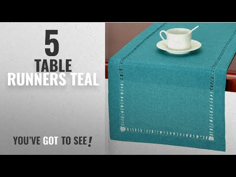 Best Table Runners Teal [2018]: Handmade Hemstitch Teal Table Runner Dresser Scarf, Rectangular 14