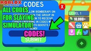Roblox Slaying Simulator Codes!