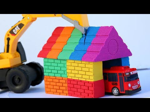 Rainbow House Kinetic Sand Learn Colors Tayo Little Bus Surprise Toys Peppa Pig