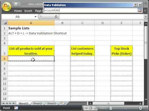 Prevent Duplicate Values being entered in a List in Excel - Allow only unique values to be entered.