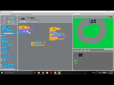 Building a simple racing game using scratch programing language.For kids