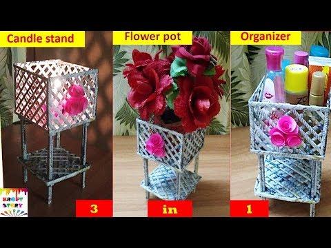 3 in 1 Newspaper craft | newspaper organizer | newspaper flowerpot | newspaper candle stand